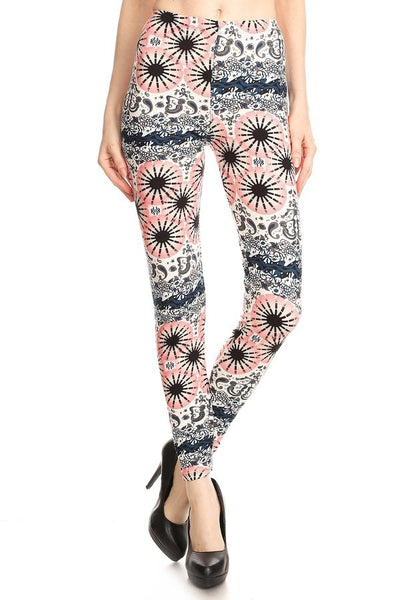 PINK BLACK PRINTED FULL LENGTH HIGH WAIST LEGGINGS