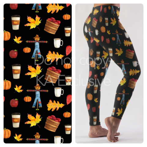 FALL FESTIVAL CUSTOM DESIGN YOGA BAND LEGGINGS