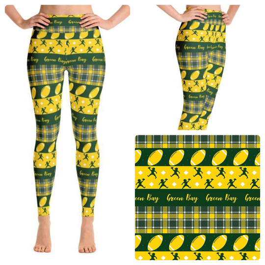 GREEN BAY PACKERS INSPIRED CUSTOM YOGA BAND LEGGINGS