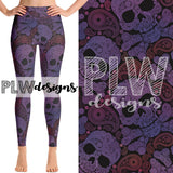 """PAISLEY SKULLS"" EXCLUSIVE CUSTOM DESIGN YOGA BAND LEGGINGS"