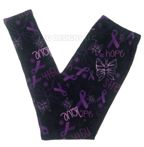Buttery Soft Custom Design Purple Epilepsy Awareness Ribbon Leggings