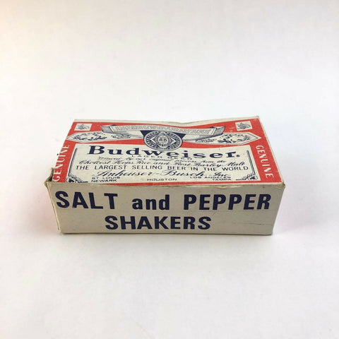BUDWEISER BEER ADVERTISING GLASS BOTTLE SALT PEPPER SHAKERS BOX EARLY METAL CAPS