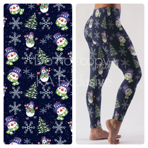 MR SNOWMAN WINTER HOLIDAY THEME CUSTOM DESIGN YOGA BAND LEGGINGS