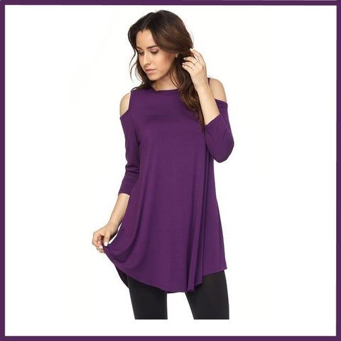 Modal Rayon Cold Shoulder 3/4 Sleeve Solid Tunic Top