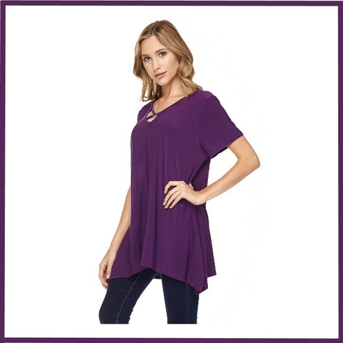 Short Sleeve Solid Tunic Top with Neckline Detail