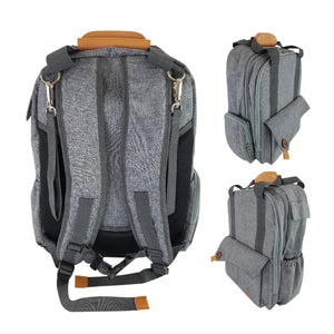 Gray Travel Diaper Bag Backpack