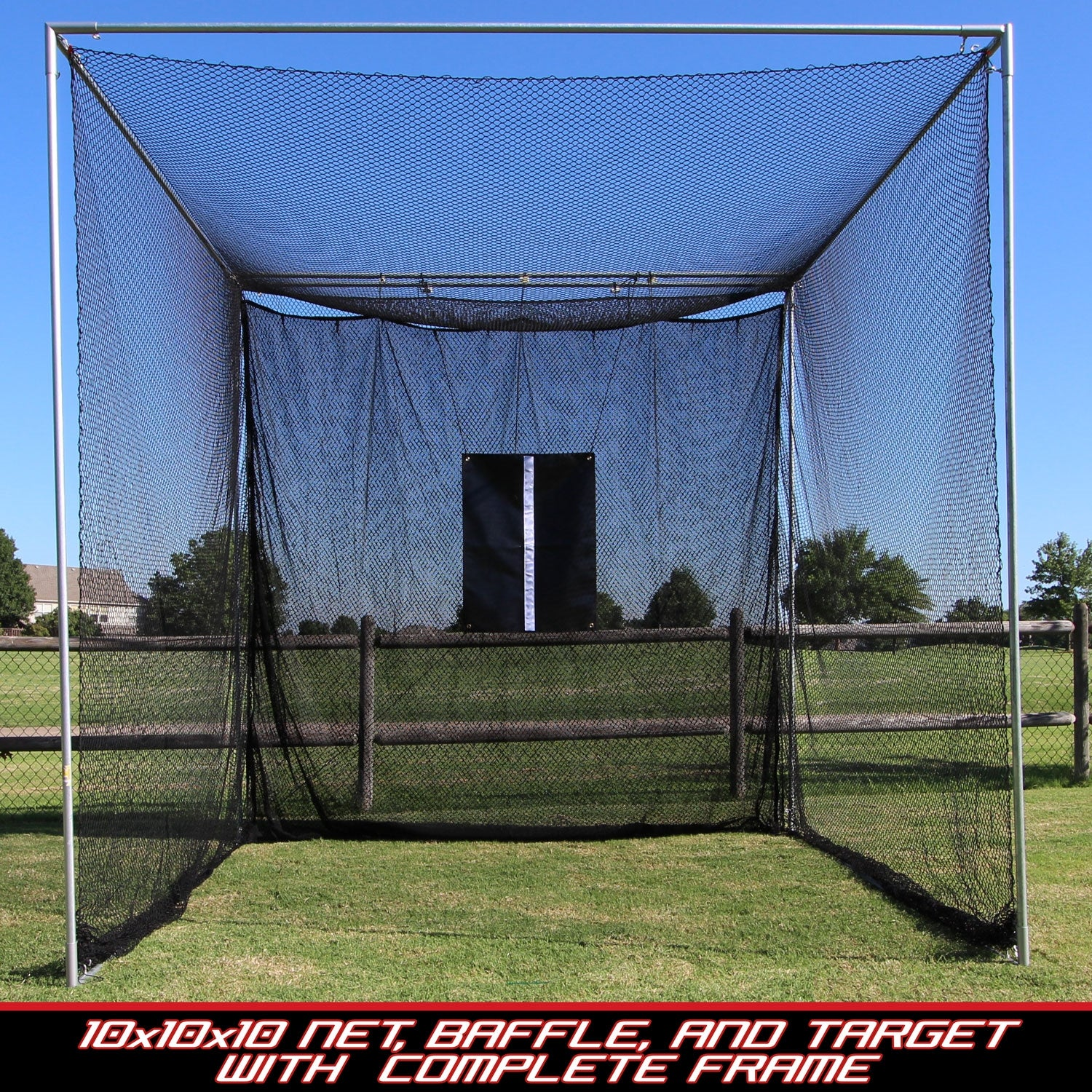 Deluxe Golf Cage Practice Net 10' x 10' x 10' - Complete Golf Cage Set