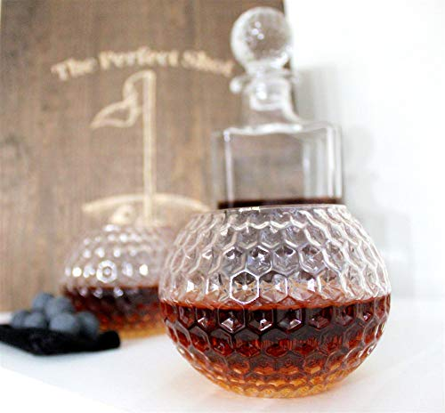 Golf Ball Whiskey Glass and Decanter Set - Perfect Golfer Gift!