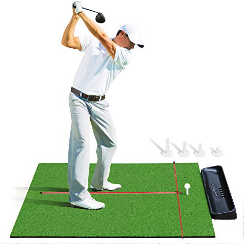 Golf Hitting Mats With Ball Tray | Premium 4x5 Golf Mat Bundle