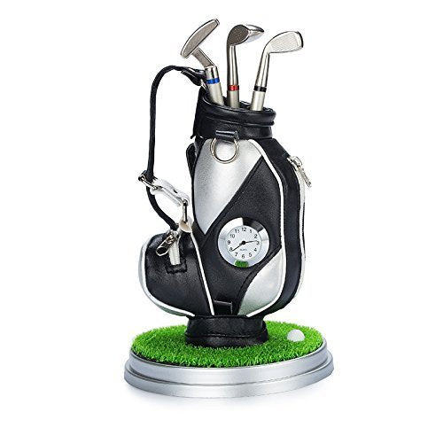 Golf Pen Holder Set with Clock Lawn Base and 3 Golf Pens - Top Golfer Gift