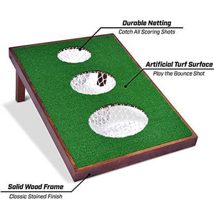 2020 Wooden Golf Cornhole Game SET - Includes Two Targets, 16 Balls, 2 Hitting Mats, Scorecard & Bag - The Golfing Eagles