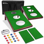 2020 Wooden Golf Cornhole Game SET - Includes Two Targets, 16 Balls, 2 Hitting Mats, Scorecard & Bag