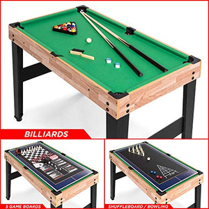 Smaller 10-in-1 Game Table w/Foosball, Pool, Shuffleboard, Ping Pong, Hockey, and More