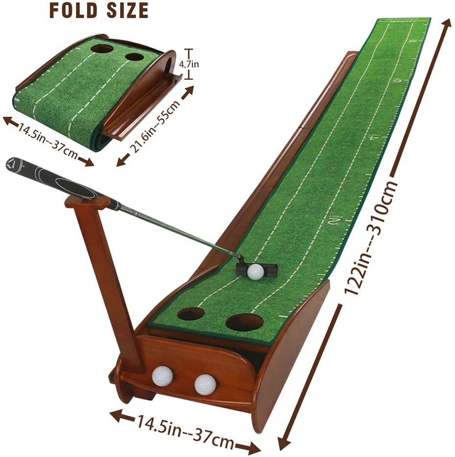 Deluxe Wood Golf Putting Green - Auto Ball Return & Putting Guidelines
