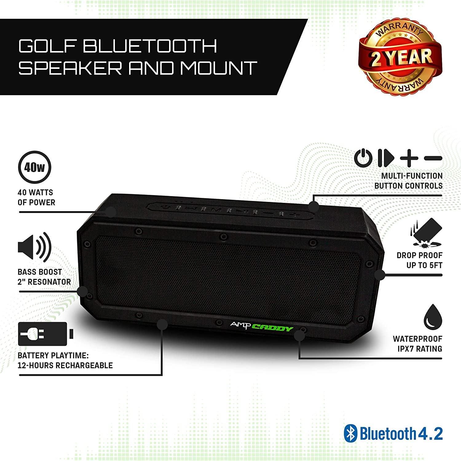 Golf Bluetooth Speaker with Mount -