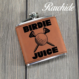 "Leather Golf Flask for ""Birdie Juice"" - Golf Christmas Gift"