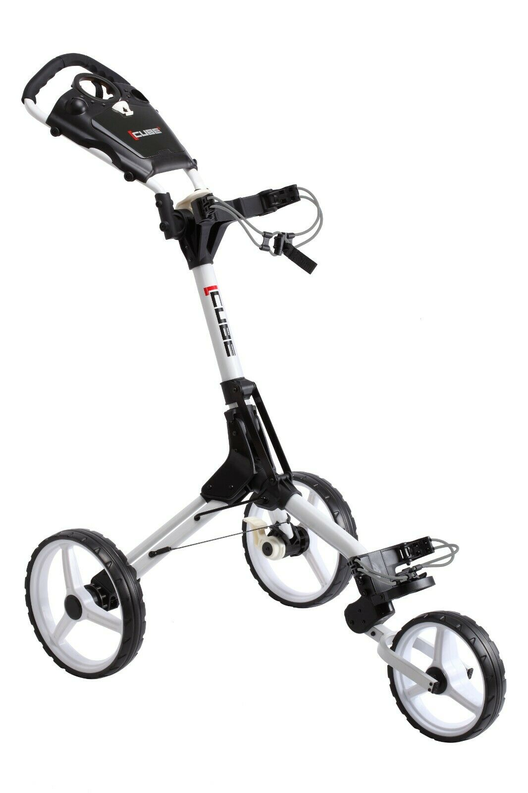 Cube 3 Wheel Compact Golf Push Cart with Umbrella Holder - The Golfing Eagles