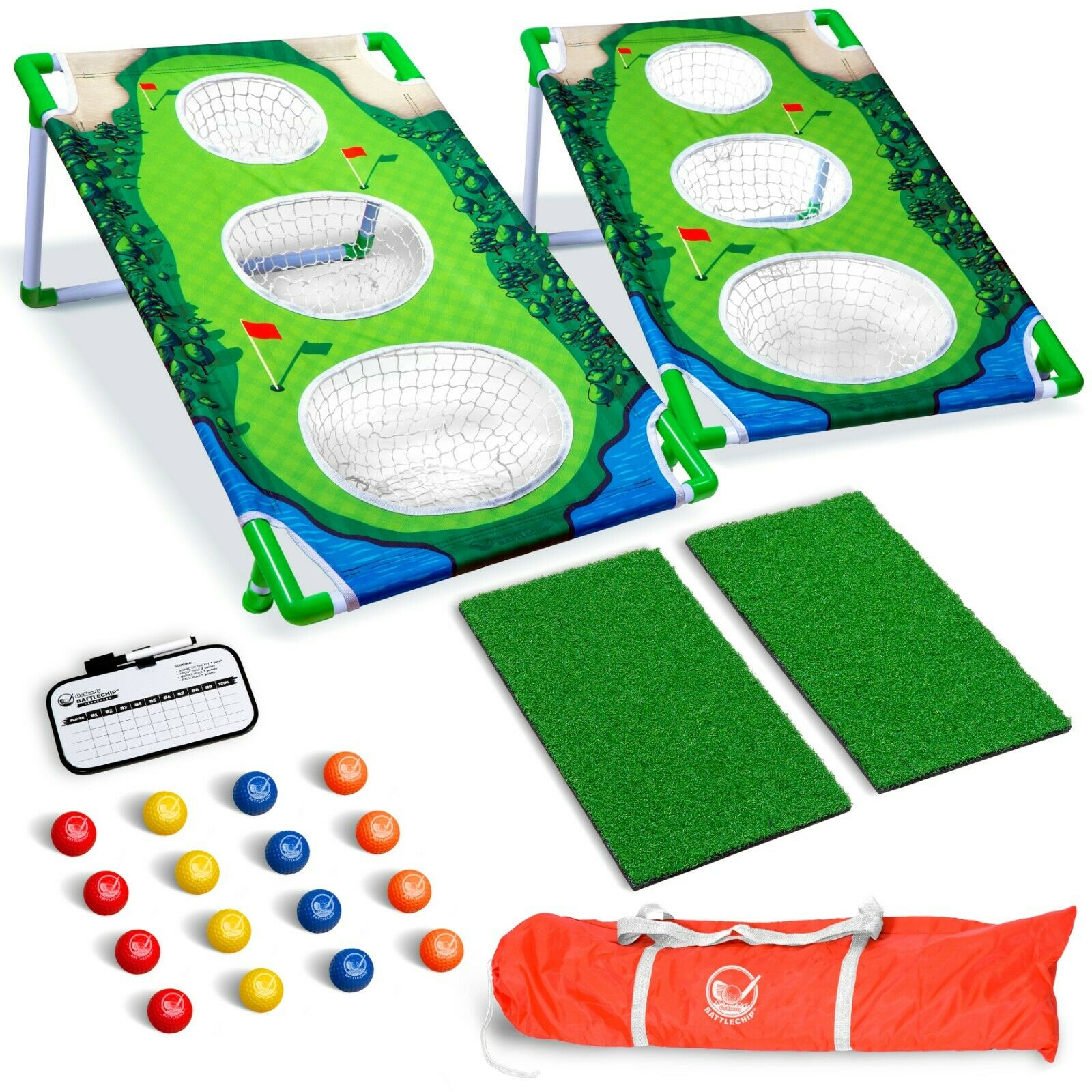 2020 Deluxe Backyard Golf Cornhole Game Set (2 Boards, 2 Mats & 16 Balls) - The Golfing Eagles