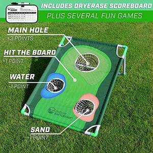 2020 New Backyard Golf Cornhole Game Full Set with Balls, Mat & Scorecard