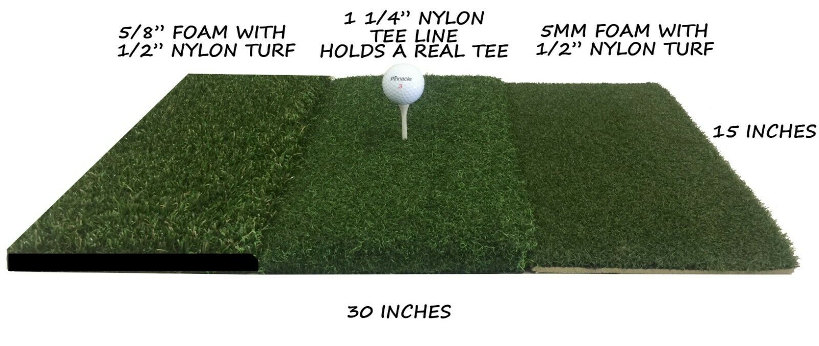 "15"" x 30"" Tri-Turf Golf Mat - Deluxe Golf Mats - The Golfing Eagles"