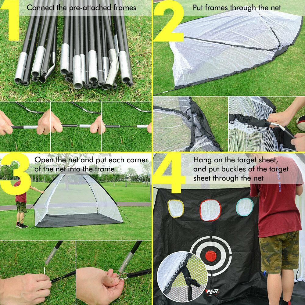 Deluxe 10 Foot Golf Practice Net Set Bundle (Net, Golf Mat, Balls & Tees) - The Golfing Eagles