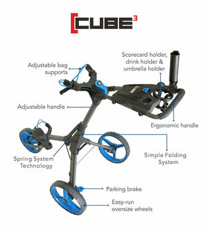 Cube 3 Wheel Compact Golf Push Cart with Umbrella Holder