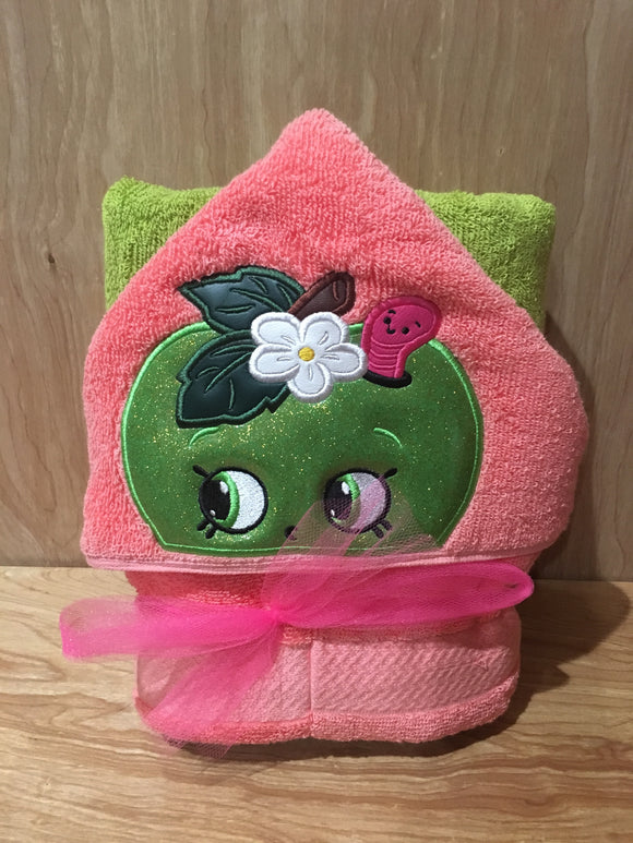 Apple (Shopkins Inspired) Hooded Towel - Pink Flower