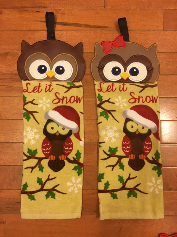Owl Couple Embroidered Top hand towel (Brown - Let is Snow)