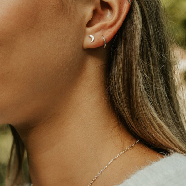 Tranquility Studs Earring crafted by women transitioning out of homelessness using 100% recycled metals
