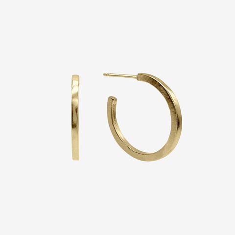 14k Gold Vermeil Circle Hoop Earring crafted by women transitioning out of homelessness using 100% recycled metals