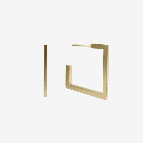 14k Gold Vermeil Square Hoop Earring crafted by women transitioning out of homelessness using 100% recycled metals