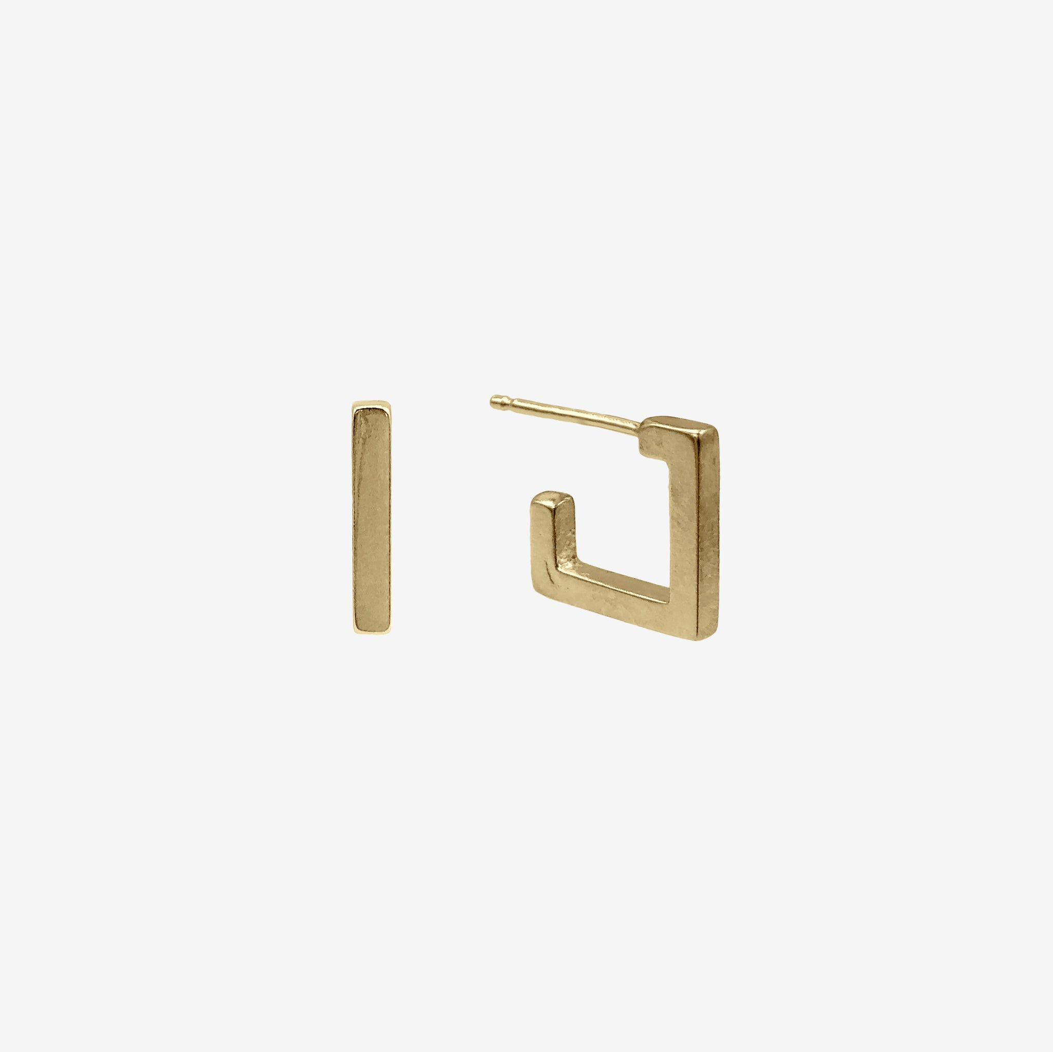 14k Gold Vermeil Square Hugger Earring crafted by women transitioning out of homelessness using 100% recycled metals