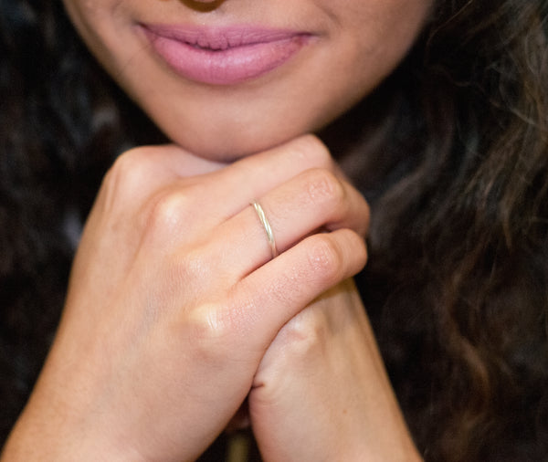Twist Ring crafted by women transitioning out of homelessness using 100% recycled metals