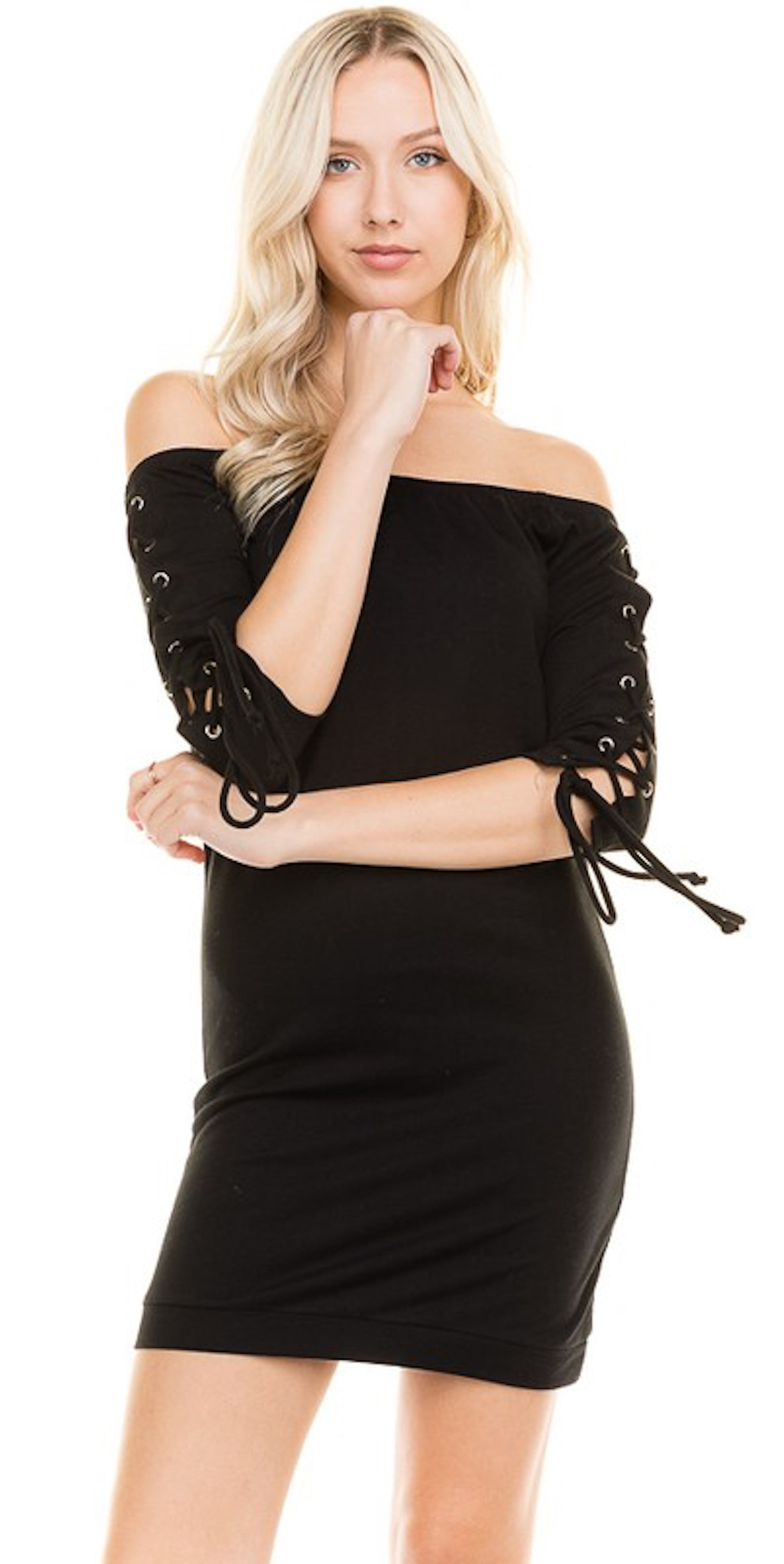 Lace Up Sleeve Off Shoulder Dress