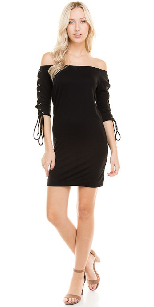 black mini criss cross sleeve lace up sleeve dress party dressy trend style fashion clothing clothes