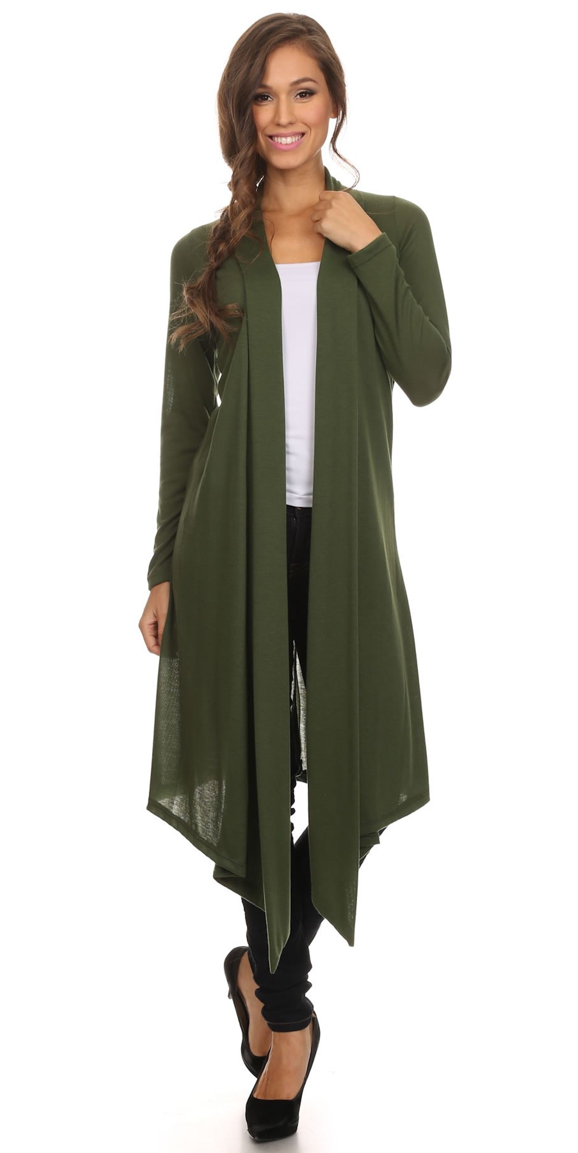 long olive cardigan jacket cover up fashion clothing woman trending style