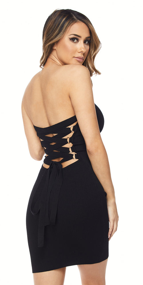 black mini criss cross back dress party dressy trend style fashion clothing clothes