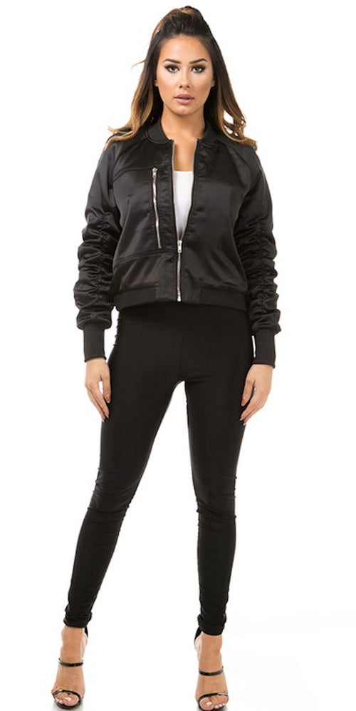 black bomber jacket ruched sleeves trend style fashion clothing clothes