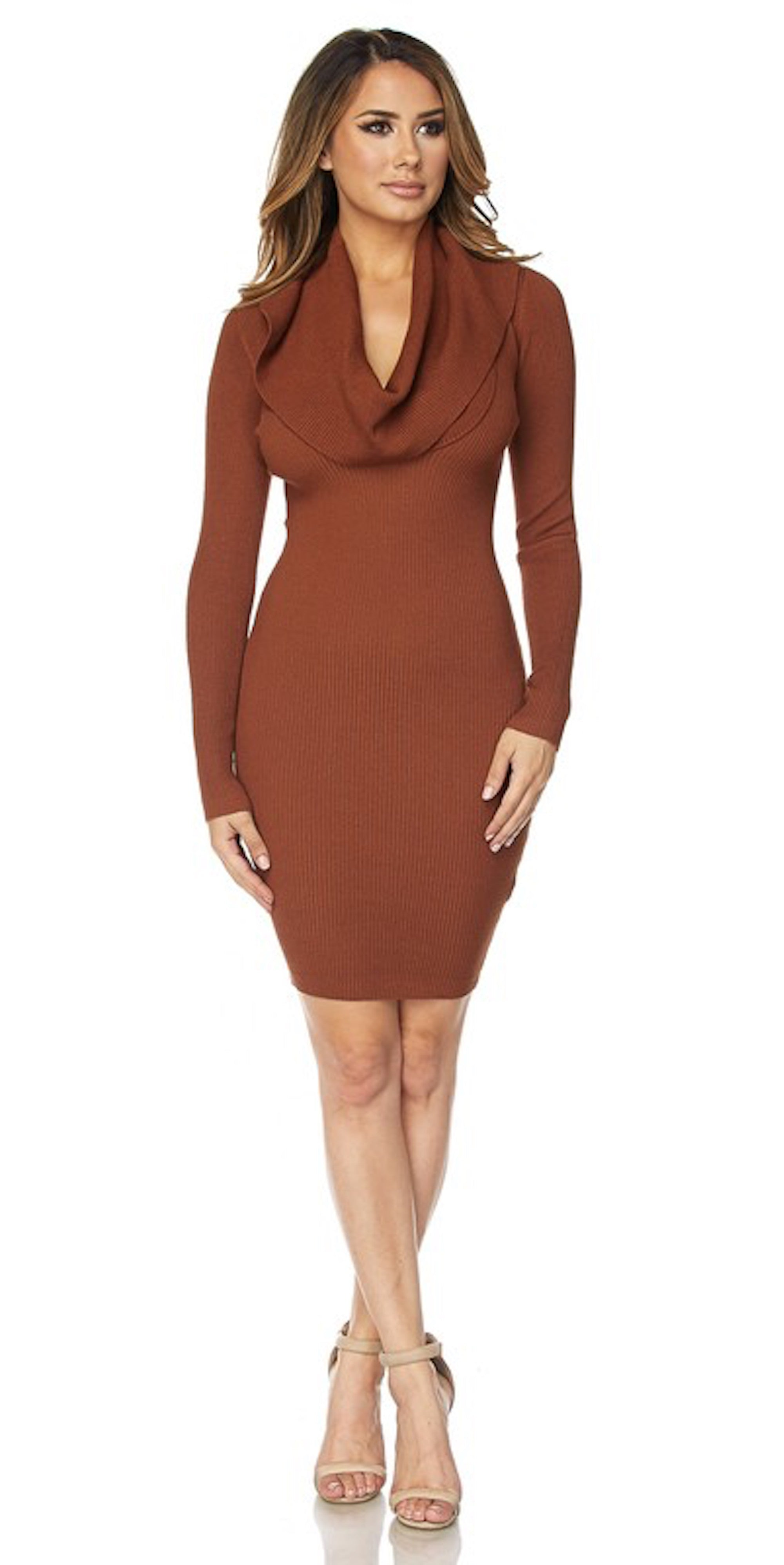 rust brown cowl neck long sleeve dress fall midi knit fashion trend style clothes clothing