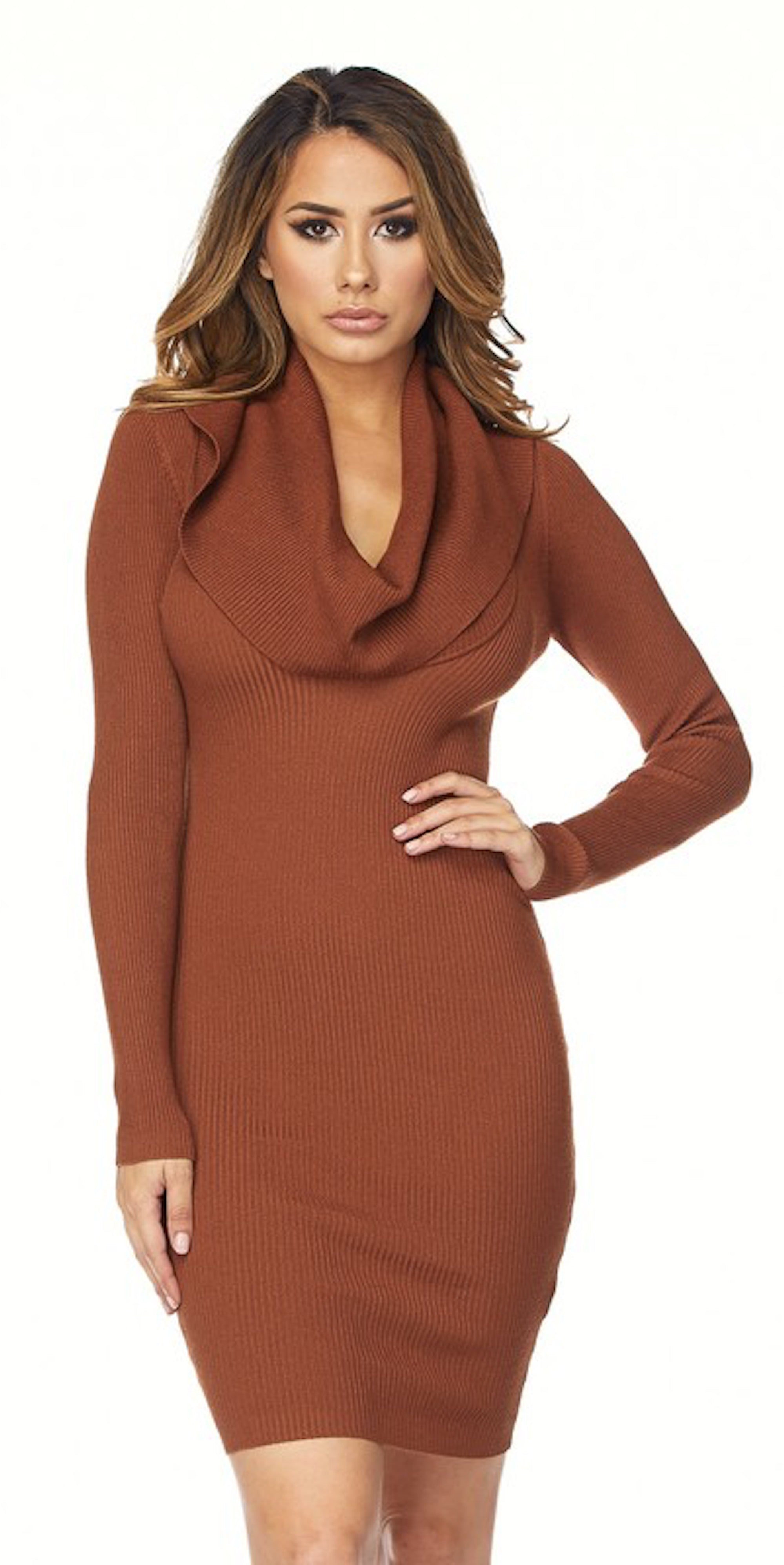 Deep Cowl Neck Dress