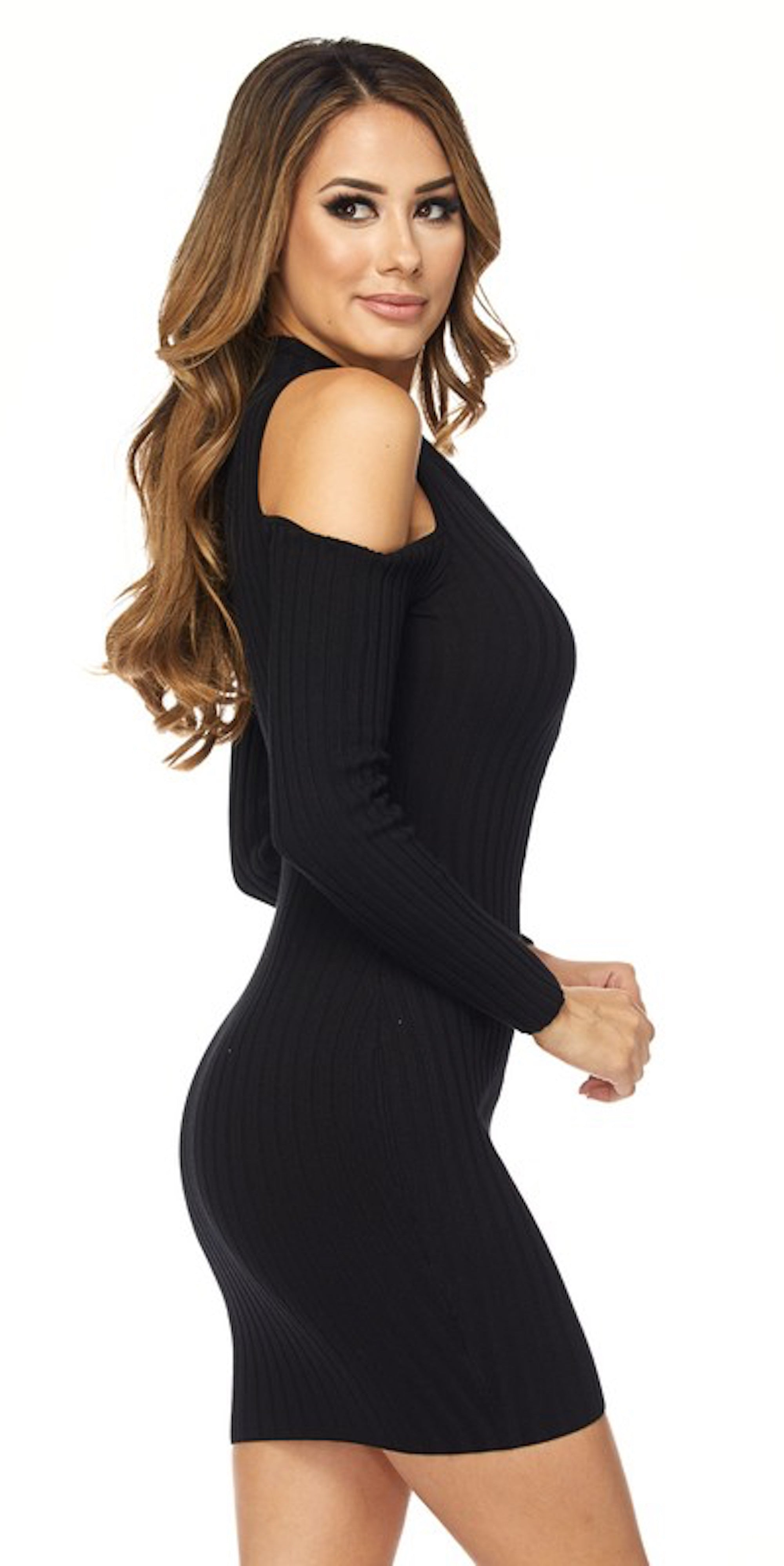 Open Shoulder Front Zipper Dress