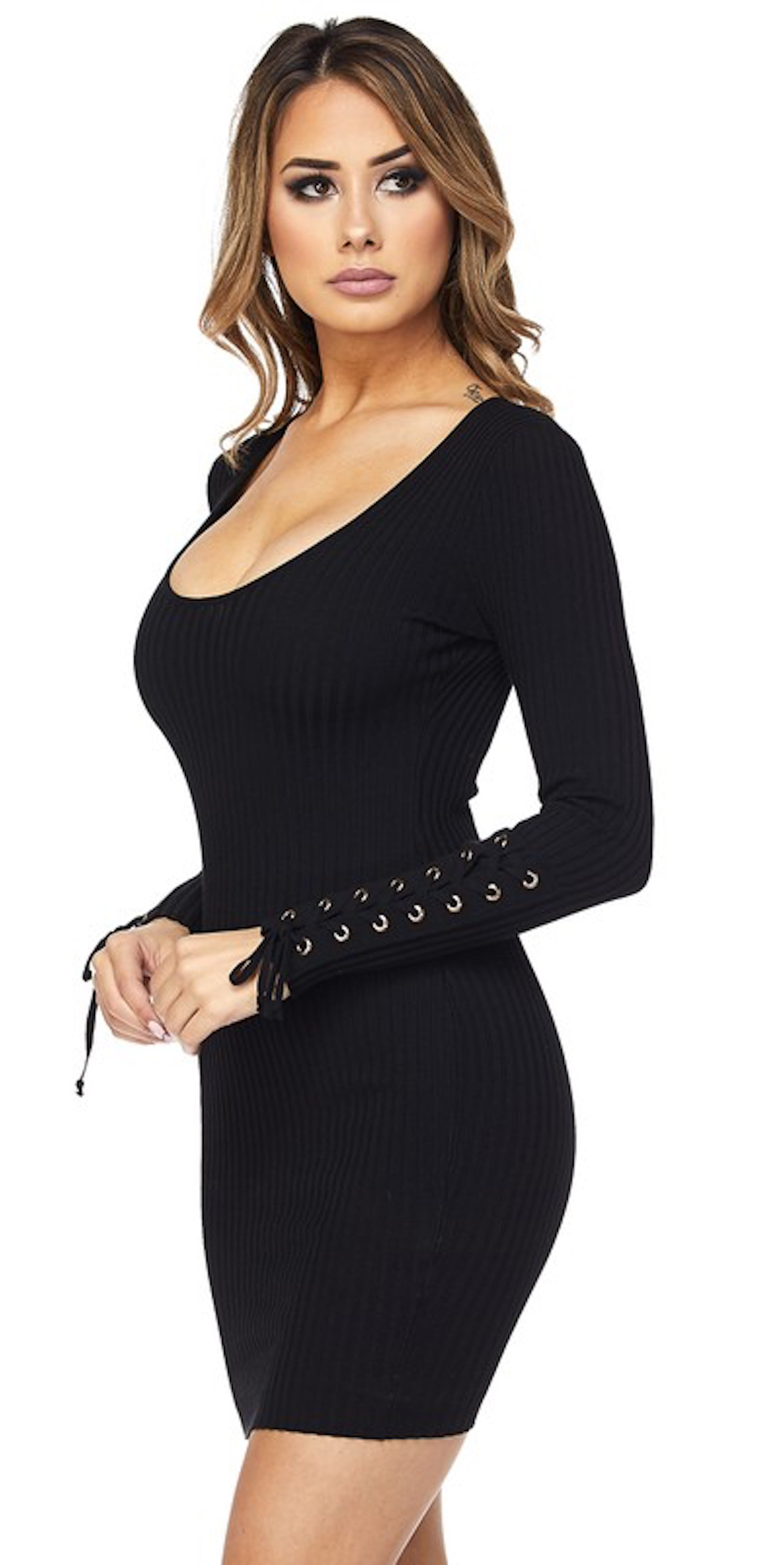 Lace Up Long Sleeve Knit Dress