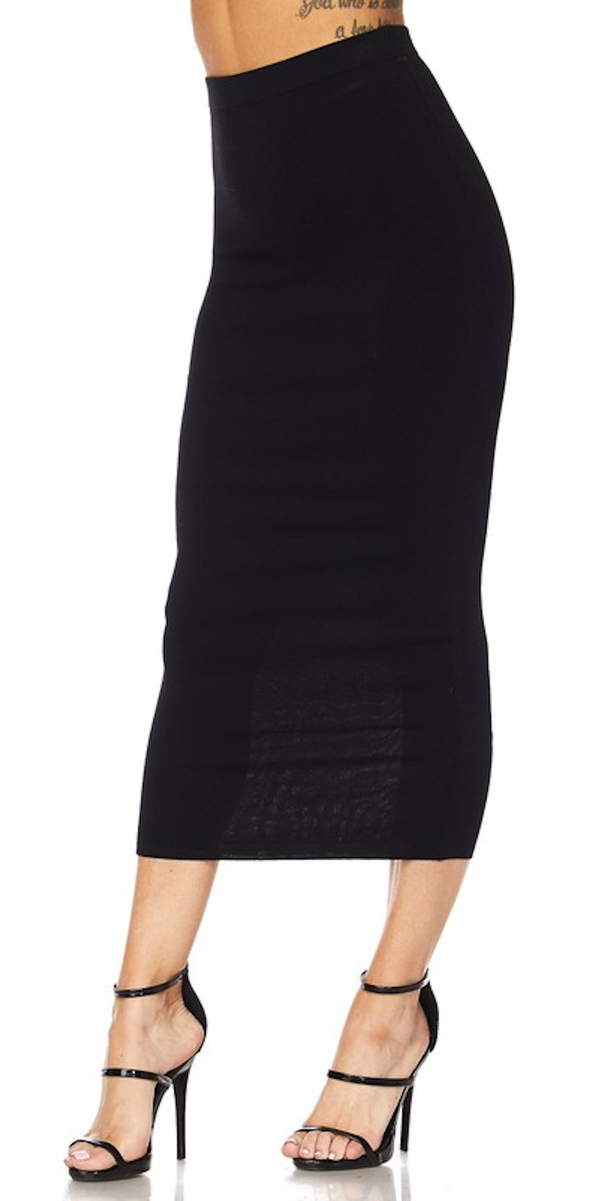 Black Long Pencil Skirt