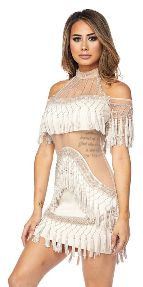 Beige Mesh Fringe Tassel Dress
