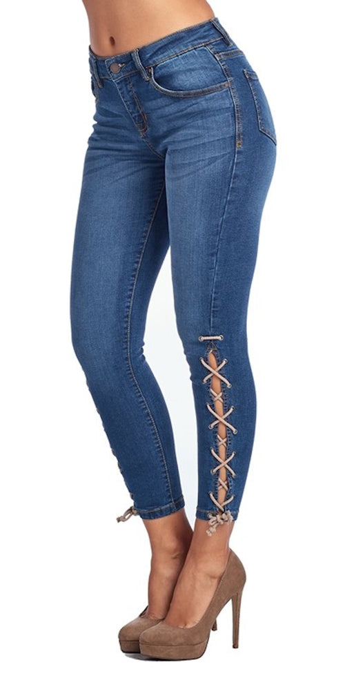 jeans high waist lace up denim skinny jeans fashion trend style clothes clothing pants
