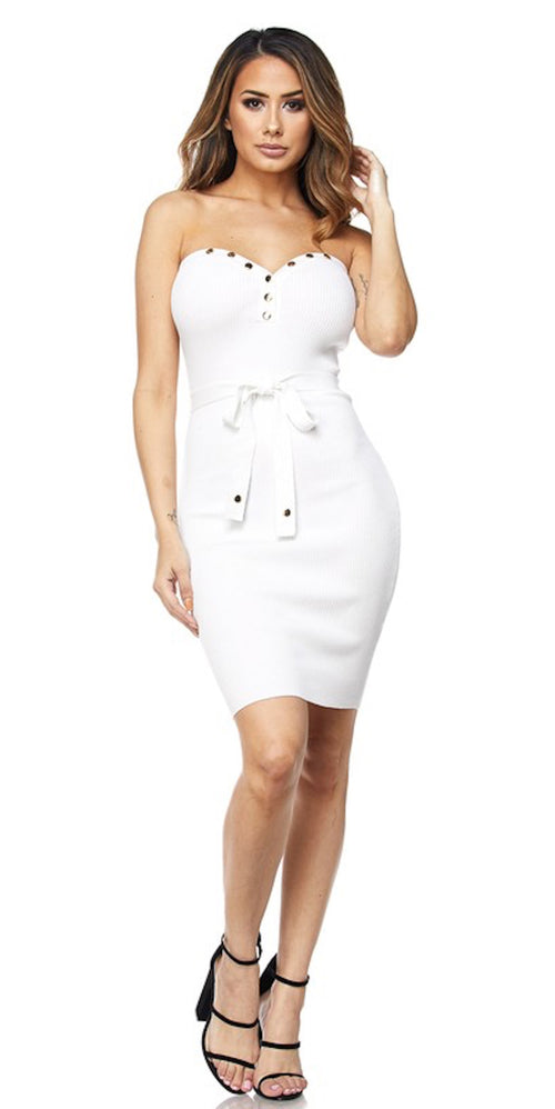 white button belted knit ribbed dress trends style fashion clothes clothing