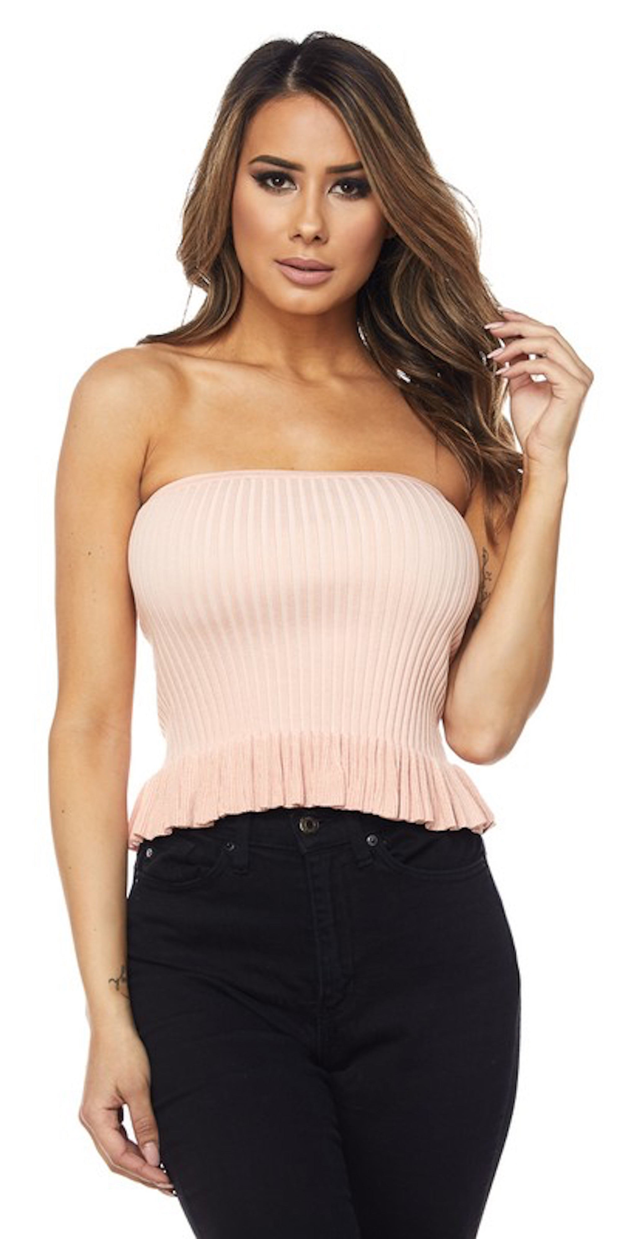 ruffle bottom tube top blush pink fashion style trend clothing clothes