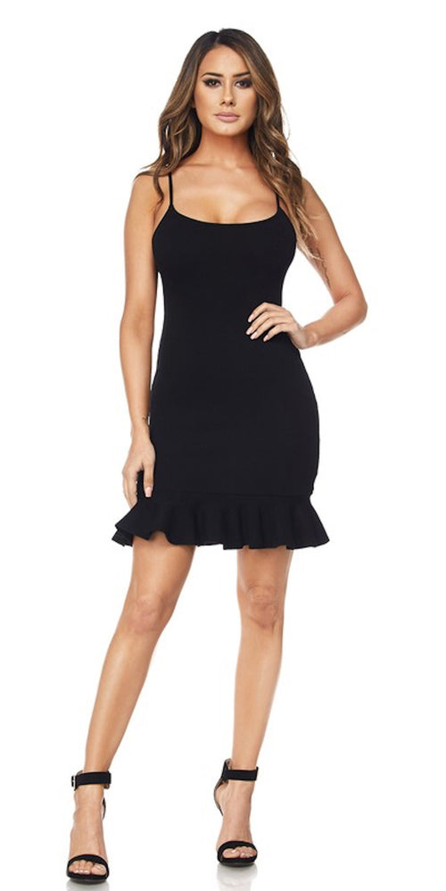 knit ribbed black mini ruffle dress trends style fashion clothes clothing