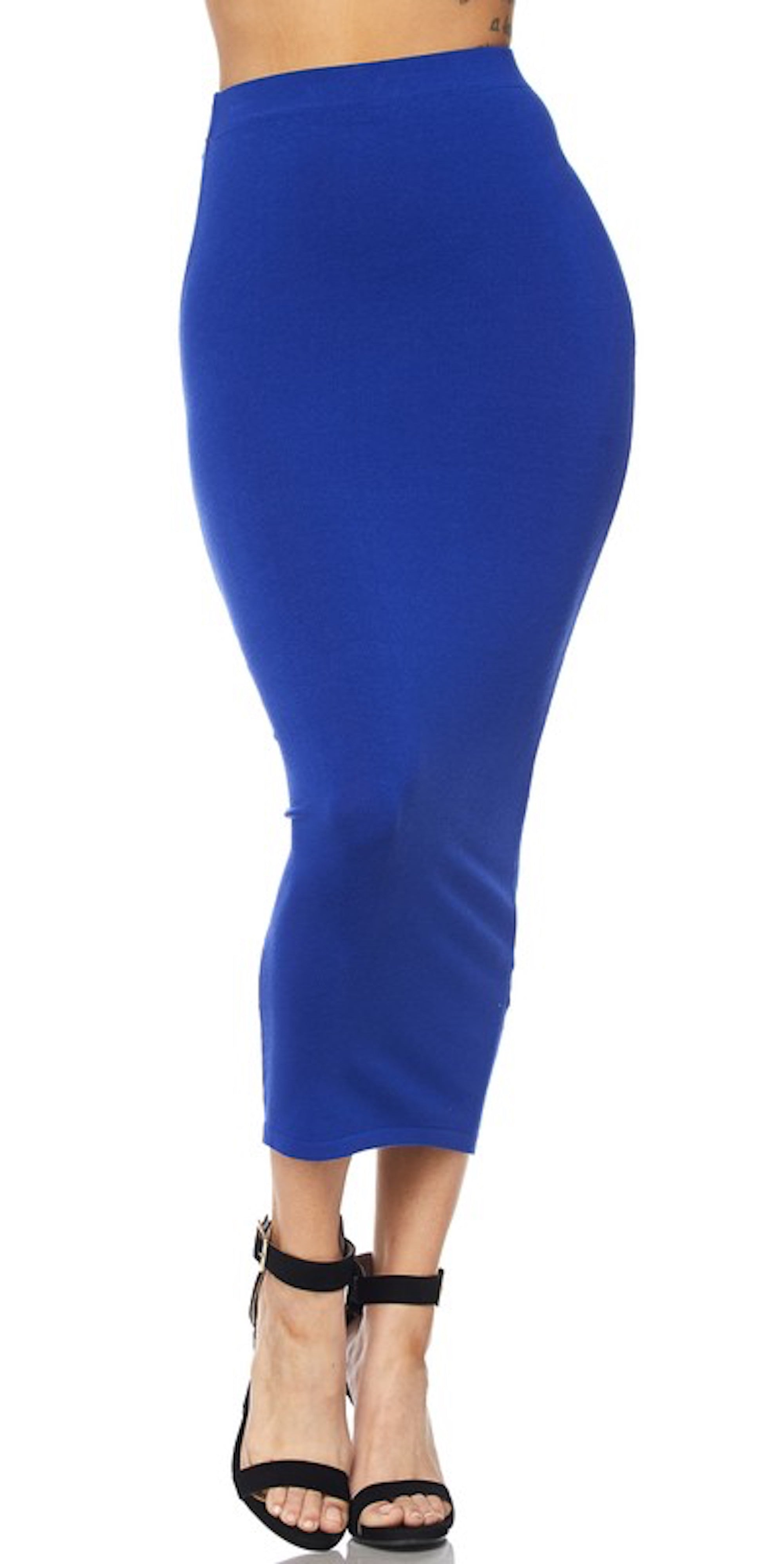 royal blue long pencil skirt fashion trend style clothes clothing