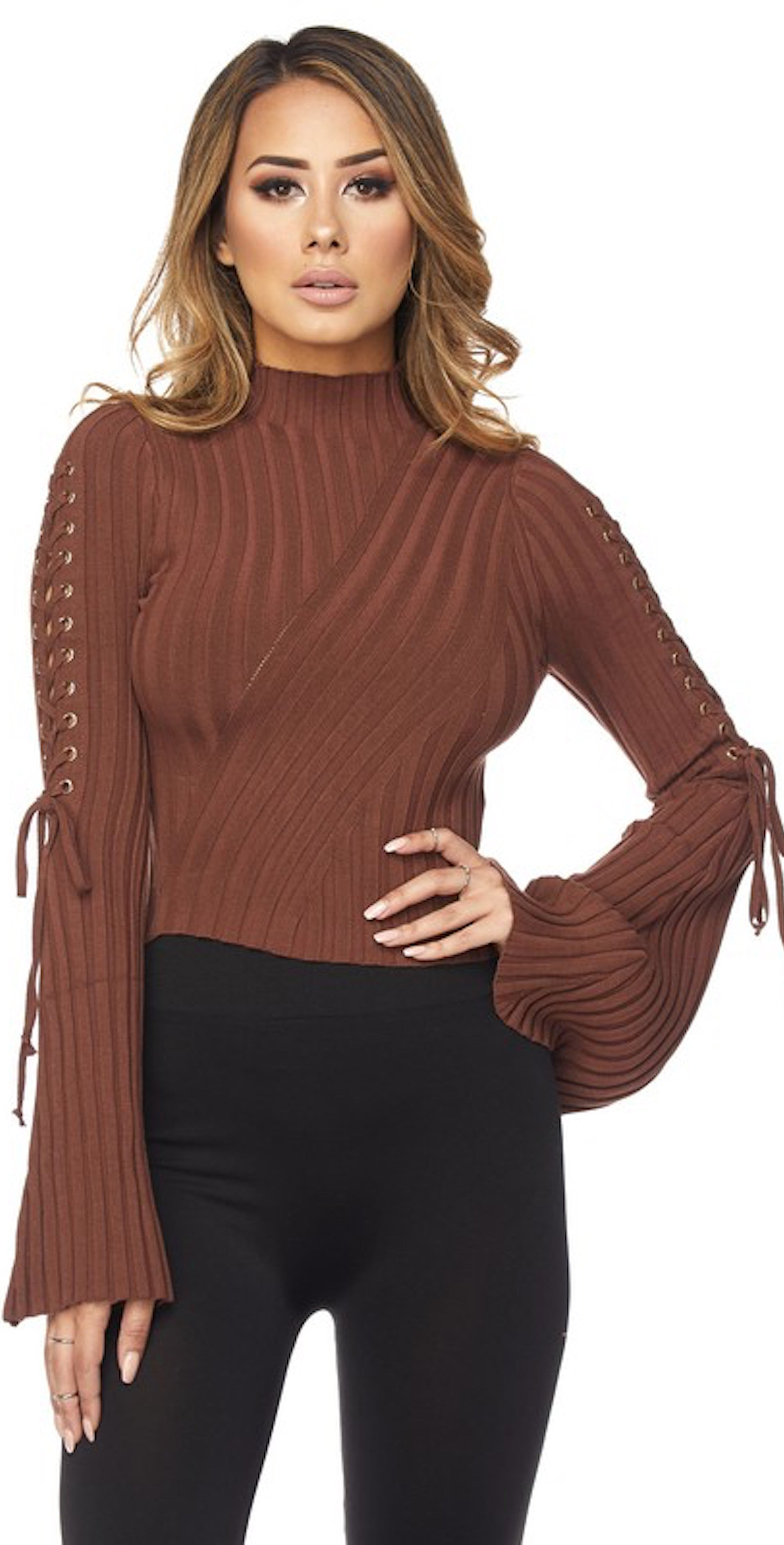 Chocolate Bell Sleeve Lace Up Top